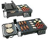 Rosenstein & Söhne Griller: Elektrischer 2in1-Tischgrill mit Kontaktgrill, Grillplatte, 2.000 Watt (Elektrogrill Tischgrill)