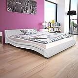 vidaXL Polsterbett Kunstlederbett Doppelbett Bettgestell mit Matratze 160x200 cm