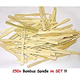 1a-becker 250 Bambus Spieße Picker Holz Pommes Gabeln Sticks Mini Cocktailgabel Party Grill