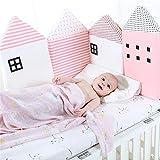 Lvbeis Baby Bettumrandung Nestchen Kopfschutz Seitige Bett Stoßstangen Safer Breathable Bumpers,Pink