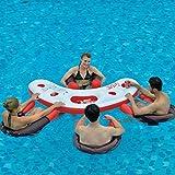 Jilong Fashio Pool Bar Set mit 4x Schwimmsessel Poolsessel Poolnudel mit Meshsitz + schwimmender Tisch mit 4 Getränkehalter und Eisfach Getränkefach