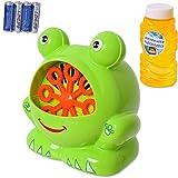 TE-Trend Bubble Machine Seifenblasenmaschine Frogg Bubble Maker Seifenblasen Frosch Kinder Maschine Kinderspielzeug Outdoor Toys Grün