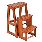 COSTWAY Stuhlleiter Leiter Stuhl Hockerleiter Trittstuhl Tritthocker Trittleiter Haushaltsleiter Massivholz klappbar 3 Stufen