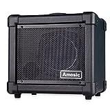 Amosic Gitarrenverstärker 10W für E-Gitarren-Anfänger, Stabile Eckabdeckung Design für Anti-Collision, Haushalt Tragbaren Verstärker, Unterstützung Batterie Netzteil