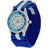 Reflex Kinder Zeitlernuhr blaues & weißes Klett Stoffarmband REFK0001 + Uhr Lesen Urkunde