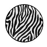 CPYang Teppich, abstraktes Zebra-Muster, rutschfest, rund, für Wohnzimmer, Schlafzimmer, Flur, Heimdekoration, 92 cm Durchmesser