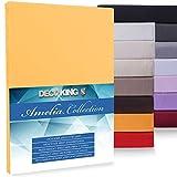 DecoKing 10082 Jersey 100x200-120x200 Microfaser Spannbetttuch Boxspringbett Amelia Spannbettlaken, Mikrofaser, orange, 100x200-120x200