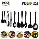 Silikon küchenhelfer Set, Hochwertige Hitzebeständige,Einfach Zu Reinigen silikon küchenutensilien,küchenhelfer,silikon löffel silikon schneebesen Küchenhelfer Set 10Stück,Antihaft Topf küchenhelfer