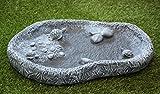 Vogeltränke mit Schildkröten Schiefergrau, Frostsicher Vogelbad Stein Garten