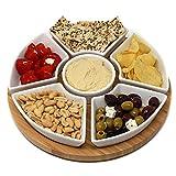Maison & White Rotierende Lazy Susan Dip Set | Bamboo Dreh Servierplatte mit 6 Keramikschale Snack Schüsseln | Ideal für Dips, Appetizer & Snacks