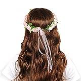 OFTEN Blumenkranz Blumenstirnband Blumenkrone Haarkranz Garland Halo mit Floral-Handgelenk-Band Hochzeit Festival Braut