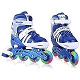 WeSkate Für Kinder / Jungen / Mädchen Canvas Design Einstellbare Rollschuhe Kinder Mit Leucht PU Räder Dreifach Schutz Leichte Inline Skates (Blau, 39-42)