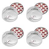 SEBSON 10 Jahres Rauchwarnmelder inkl. Magnethalterung, DIN EN 14604 zertifiziert, fotoelektrischer Rauchmelder, Brandmelder, 4er Set