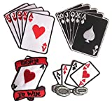 Aufnäher Patch Bügelbild Aufbügler Applikation Bestickt Sticker-Ei Set groß Biker Motorrad Born to Win Poker Karten Casino Club Set Nr 13
