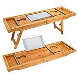 Unuber Badewanne Caddy & Laptop Bett Schreibtisch - 2 in 1 innovatives Design verwandelt unsere 100% extra große Bambus Badewanne Tablett zu Bett Tablett - für das ultimative Verwöhnerlebnis
