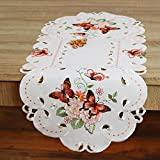 Eindrucksvolle Serie ' LOVELY BUTTERFLIES ' - wunderschöne Schmetterlinge und Blumen - hochwertige Stickereien und Cutwork - Grundton ecru mit bestickten Schmetterlingen in abricot - ein echter EYECATCHER - SERIE - kombinieren Sie Tischdecken mit Tischläufern Auflegern und Kissenbezügen - NEU aus dem KAMACA-SHOP - Frühling Ostern (Tischläufer 40 x 90 cm oval)