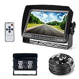 Farb Rückfahrkamera mit Monitor System, 28 IR LED Nachtsicht mit Wasserdicht Rückfahrsystem Kamera + 7' TFT LCD Monitor