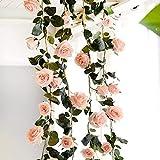 Rosengirlande, Künstliche Rosen, künstliche Blumendeko, zum Aufhängen, für Hotel/Hochzeit/Zuhause/Party/Garten, rose, 180 cm/70.87 in