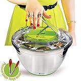 große Salatschleuder Edelstahl - Salatschüssel mit KOSTENLOSER Zange, Schnelles Trocknen, Rutschfeste Basis, Spülmaschinensichere Schüssel mit Sieb & Druckknopf von PYKAL