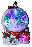 Best Season LED-Schneekugel'Snowmen'bunte LED-Lichter, Schneegebläse circa 32 x 21 cm mit Trafo oder Batterie, Vierfarb-Karton 680-74