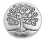 Schlüsselkette Geschnitzte Life Tree Pattern Alte Silber Runde Metallknöpfe Packung von 50pcs