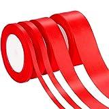 4 Rollen 4 Größen Satinband Stoffband Seide Satin Rolle für Weihnachten Valentinstag Basteln Hängen Verpackung DIY (Rot)