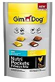 GimDog Nutri Pockets Fitness Mix | Knuspersnack mit cremiger Füllung und funktionalen Inhaltsstoffen | stärkt Herz- und Muskelfunktion | ohne Zuckerzusatz | 1 Beutel (1 x 150 g)