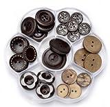 Holz-Knöpfe die mit verschiedenen Accessoires kombiniert werden können