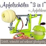 Apfelschäler Apfelschneider Apfelentkerner 3 in 1 mit Apfeldose (Hellgrün)