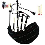Schottischer Great Highland Dudelsack, natürliches Rosenholz / Palisanderholz mit silberfarbenen Verzierungen, Dudelsack / Gaita