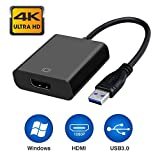 Jiqu USB 3.0 zu HDMI Adapter, USB zu HDMI Adapter, HD 1080P Video Grafikkabel Adapter für Laptop HDTV TV Windows 7/8/10 PC, (No Mac & Vista) (Schwarz)