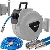 MASKO25m Druckluftschlauch Aufroller automatisch 1/4' Anschluss - Schlauchtrommel Wandschlauchhalter Schlauchaufroller Druckluftschlauch-Aufroller Druckluftschlauch-trommel Grau, Größe: 25 Meter