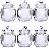 6 Luftdichte Vorratsdosen Bonbonglas Set aus Glas Vorratsglas mit Fassungsvermögen von 500ml / Vorratsbehälter BONBONNIERE Aufbewahrung von Zutaten & Gewürzen