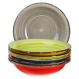 6-TLG. Tellerset Malaga | Bunte Suppenteller tief | 650 ml | Ø 21.5 cm | Salatteller rund | Servier-Schale | Porzellan-Teller | handbemalt