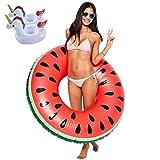 Good Sister Riesiger Wassermelone Schwimmring Luftmatratz - Aufblasartikel Wassermelone Swim Ring Strandspielzeug für Erwachsene & Kinder (B-Wassermelone)