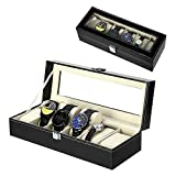 Uhrenbox Uhrenkoffer, Mbuynow Schaukasten Uhrenkasten Uhrenvitrine für 6 Uhren aus kunstleather
