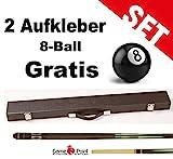 Top-Angebot!!! Billardqueue Tycoon, TC-4 grün, Länge ca. 147 cm, 2-tlg. mit Koffer Standard 1/2 schwarz + 2 Aufkleber 8-Ball Gratis