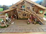 Arbrikadrex Verschiedene Weihnachtskrippen Holz Schreinerarbeit Douglasienholz Handarbeit Krippe mit und ohne Figuren Krippen-stall Weihnachten (Weihnachtskrippe, CCarlos mit Figuren)