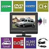 HKC 13M4C: 33,8 cm (13 Zoll) Mini-Fernseher mit DVD-Player (Full HD, Triple Tuner, CI+, Mediaplayer USB 2.0, 12V Kfz-Ladegerät) [Energieklasse A+]