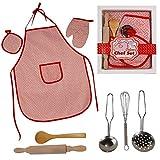 Unbekannt Kinder Koch-und Backset 8 TLG. Küchenspielzeug Kinderküche Rollenspiele Kochen Spielen (Rot)