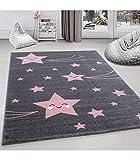 Kinderteppich Kinderzimmer Teppich Sterne Muster Grau-Pink - 160x230 cm