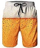 ALISISTER Badehose Herren 3D Bier Druck Sommer Schnelltrocknend Schwimmhose Board Shorts mit Netzfutter Badeshorts für Herren Männer XL