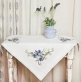 Kamaca Stickpackung Blue Blossom - Stickdecke 80 cm x 80 cm - Spannstich vorgezeichnet - aus 100% Baumwolle - Mitteldecke 80 x 80 - zum Selbersticken Shop