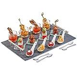 Andrew James Servierplatte aus Naturschiefer mit Metallgriffen   17-Teiliges-Set mit 4x Mini-Dessertgläser 4x Glasschalen 4x Porzellanlöffel und 4x Edelstahl Löffel   Geeignet für Desserts Kanapees Tapas und Aperitifs