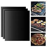 BBQ Grillmatte Backpapier (3er Set) Teflon Antihaft zum Grillen und Backen,Barbecue Grill Matte Backmatte Wiederverwendbar für Holzkohlegrill, elektronischen Grill, Backofen, Dampf-Backofen,Mikrowelle