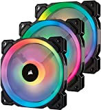 Corsair LL120 RGB PWM PC-Gehäuselüfter (120mm, 2 separate Lichtschleifen, mit Lighting Node und Hub, Triple Pack) schwarz