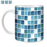 STUFF4 Tee/Kaffee Becher 350ml/Blau/Türkis/Weiß/Küchen-Fliese Muster/Weißkeramik/ST10