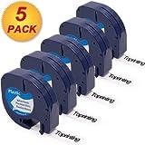 12mm Kunststoff-Etikettenband Schwarz auf Weiß Kompatibel mit Dymo Letra Tag LT 91201 91221 S0721660 mit Drucker LT-100H LT-100T LT-110T QX 50 XR XM 2000 Plus Etikettendrucker (5 stück (Kunststoff))