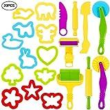 Lictin Knetwerkzeug Knete Zubehör 20 Pcs Teig Plastilin Werkzeuge Ausstechformen Spielzeug für Kinder