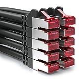 [SET 10 Stück] deleyCON 0,5m CAT6 Patchkabel - S-FTP PIMF - CAT-6 Netzwerkkabel / Ethernetkabel - 2x geschirmt - vergoldete Kontaktflächen - Schwarz